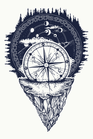 Compass in night forest tattoo boho style, t-shirt design. Mountain antique compass and wind rose tattoo art. Adventure, travel, outdoors, symbol. Tattoo for travelers, climbers, hikers Vettoriali