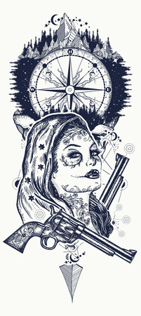 Mexicaanse criminele tattoo-kunst en t-shirtontwerp. Wilde westen vrouw, kompas en bergen tattoo. Santa muerte meisje. Suiker schedel. Santa Muerte Mexicaanse vrouw, oude revolvers, plaats delict Stock Illustratie