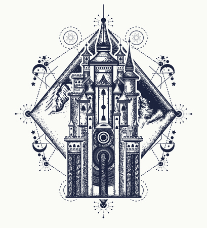 Medieval castle and mountains tattoo art. Symbol of the fairy tale, dream, magic. Medieval castle t-shirt design Vettoriali