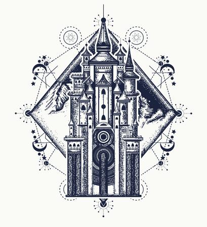 Middeleeuws kasteel en bergen tattoo art. Symbool van het sprookje, droom, magie. Middeleeuws kasteel t-shirt ontwerp