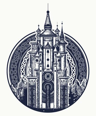 Middeleeuws kasteel t-shirt ontwerp. Middeleeuws kasteel tattoo kunst. Symbool van het sprookje, droom, magie