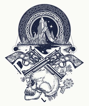 Wild west art. Symbol of wild west, robber, crime Texas t-shirt design. Skull, guns and mountains crime tattoo and t-shirt design Vettoriali