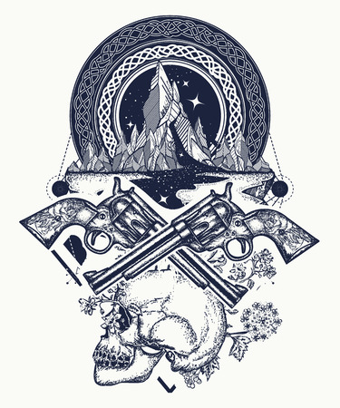 Wild west art. Symbol of wild west, robber, crime Texas t-shirt design. Skull, guns and mountains crime tattoo and t-shirt design Ilustrace
