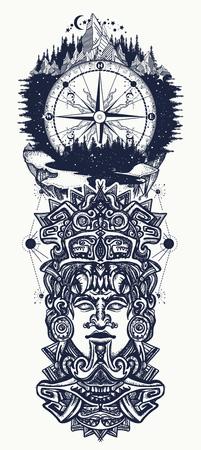 Antico totem azteco, montagne e bussola. Dio messicano Antica civiltà Maya. Maya indiano scolpito nell'arte del tatuaggio di pietra. Tatuaggio Maya e design t-shirt Archivio Fotografico - 92826710