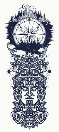 Ancient aztec totem, mountains and compass. Mexican god. Ancient Mayan civilization. Indian mayan carved in stone tattoo art. Mayan tattoo and t-shirt design Illustration