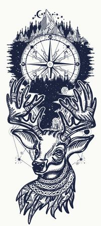 Kerst rendieren, bergen en kompas. Symbool van de winter, Nieuwjaar, Kerstmis. Mooi rendierportret tatoeage kunst