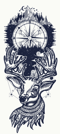 Christmas reindeer, mountains and compass. Symbol of winter, new year, Christmas. Beautiful reindeer portrait tattoo art