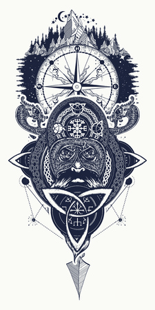 Viking warrior, compass and mountains tattoo. Northern warrior, t-shirt design. Celtic emblem of Odin. Northern dragons, mountains, compass viking helmet, ethnic style
