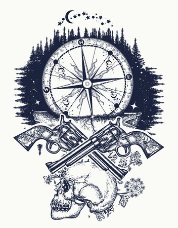 Skull, guns and compass crime tattoo and t-shirt design. Wild west art. Symbol of wild west, robber, crime Outdoors t-shirt design