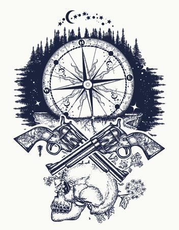 Schedel, geweren en kompas misdaad tattoo en t-shirt design. Wilde westen kunst. Symbool van het wilde westen, rover, misdaad Buitenshuis t-shirt ontwerp Stock Illustratie