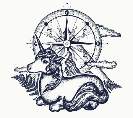 Eenhoorn, kompas en bergen in de cirkel-tatoeage, Keltische stijl. Geweldig buiten. Symbool van dromen, sprookjes, fantasieën, avontuurlijk toerisme, meditatie. Eenhoorn en magisch kompas t-shirt design Stock Illustratie