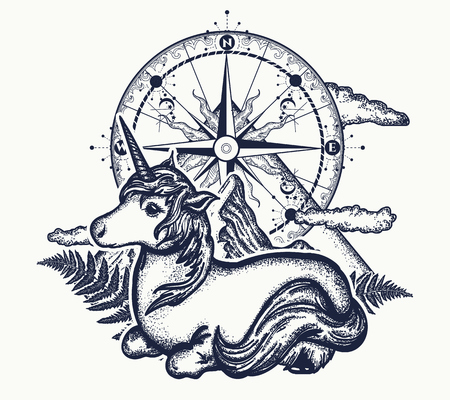 Unicorn, compass and mountains in the circle tattoo, celtic style. Great outdoors. Symbol of dreams, fairy tales, fantasies, adventure tourism, meditation. Unicorn and magic compass t-shirt design