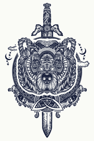 Bear and swords tattoo and t-shirt design. Northern grizzly bear, symbol of force, wild nature, outdoors. Ornamental celtic bear head tattoo