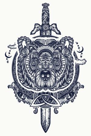 Tatouage d'ours et d'épées et conception de t-shirt. Ours grizzli du Nord, symbole de la force, nature sauvage, extérieur. Tatouage de tête d'ours celtique ornemental Banque d'images - 92826716