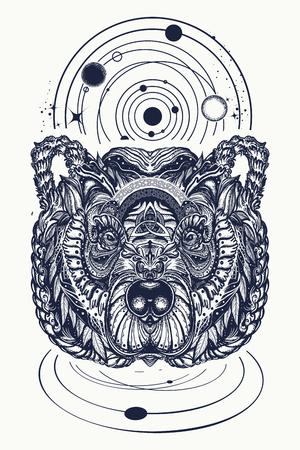 Beer en universum tattoo en t-shirt design. Noordelijke grizzly beer, symbool van kracht, wilde natuur, buitenshuis. Sier Keltische berenkop tattoo Stock Illustratie