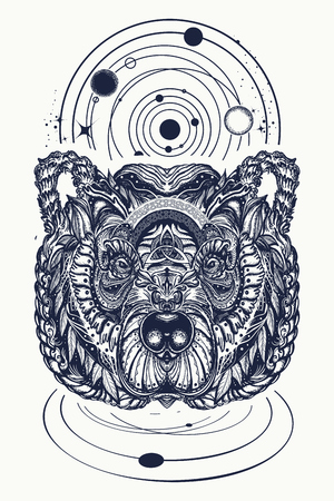 Bear and universe tattoo and t-shirt design. Northern grizzly bear, symbol of force, wild nature, outdoors. Ornamental celtic bear head tattoo
