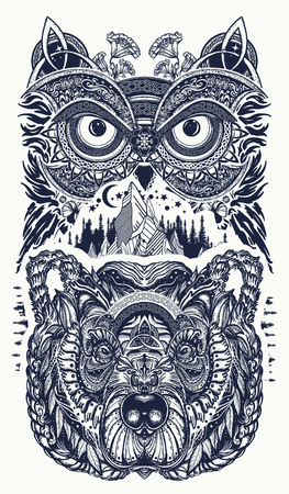 Owl and bear  tattoo art. Owl, mountains in ethnic celtic style t-shirt design. Owl and tribal bear tattoo symbol of wisdom, meditation, thinking, tourism, adventure Vettoriali