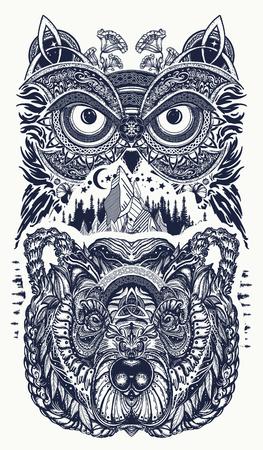 Arte del tatuaje de búho y oso. Búho, montañas en diseño étnico de la camiseta del estilo céltico. Owl and tribal bear tattoo símbolo de la sabiduría, la meditación, el pensamiento, el turismo, la aventura