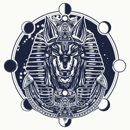 Anubis and moon phase tattoo and t-shirt design. Ancient Egypt Anubis, god of war, Golden Mask of the Pharaoh, symbol of next world, kingdom of dead tattoo art