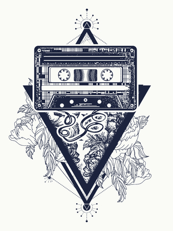 Old audio cassette and roses flowers, symbol of pop music, disco. Audio cassette and graceful flowers in mystical triangle tattoo and t-shirt design. Symbol of retro music, nostalgia, 80th and 90th