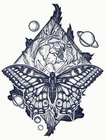 Butterfly, rose en universe tattoo, geometrische stijl. Mooi ontwerp van de Swallowtail boho t-shirt. Mystiek symbool van vrijheid, natuur, toerisme. Realistische vlinderkunsttatoegering voor vrouwen Stock Illustratie
