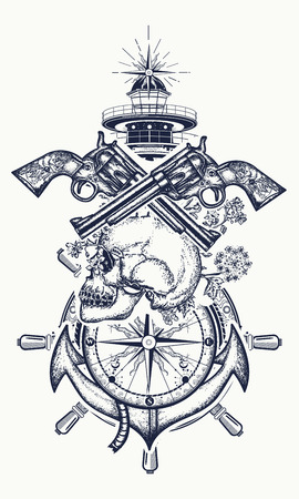 Skull and guns, anchor, steering wheel, compass, lighthouse, tattoo art. Symbol of maritime adventure, pirate, criminal. Pirate skull, revolver, anchor and lighthouse t-shirt design