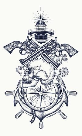 Cranio e pistole, ancora, volante, bussola, faro, arte del tatuaggio. Simbolo dell'avventura marittima, pirata, criminale. Disegno del cranio del pirata, del revolver, dell'ancora e del faro del faro Archivio Fotografico - 92826765