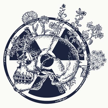 Atoom schedel tattoo en t-shirt design. Symbool van nucleaire oorlog, einde van de wereld, gevaren van kernenergie Stock Illustratie