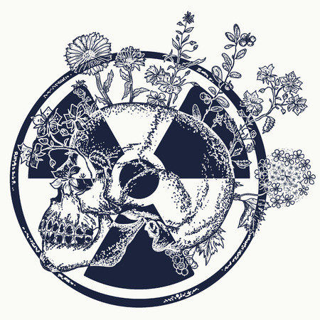 Atomic skull tattoo and t-shirt design. Symbol of nuclear war, end of world, dangers of nuclear energy