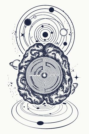 Hersenen en universum tattoo kunst. Symbool van psychologie, filosofie, creativiteit, intelligentie. Super brein lost problemen op met het ontwerpen van T-shirts. Kunstmatige intelligentie van de toekomstige tattoo