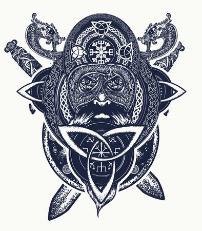 Design t-shirt testa di guerriero vichingo. Tatuaggio delle forze dell'amuleto celtico. Draghi tribali, stile etnico. Tatuaggio di spade vichinghe e incrociate, anello con ornamento scandinavo Archivio Fotografico - 92826770