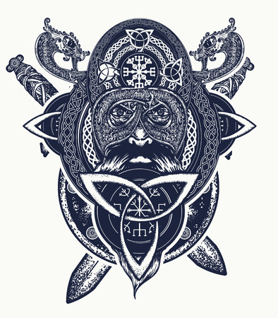 Viking warrior head t-shirt design. Celtic amulet forces tattoo. Tribal dragons, ethnic style. Viking and crossed swords tattoo, ring with scandinavian ornament