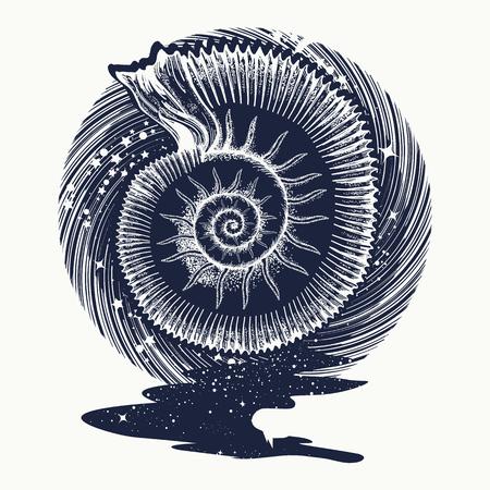 Ammonites and art nouveau flowers tattoo. Symbol of science, paleontology, history, biology, golden ratio. Ancient mollusk t-shirt design. nfinite space, meditation symbols, travel, tourism Vettoriali