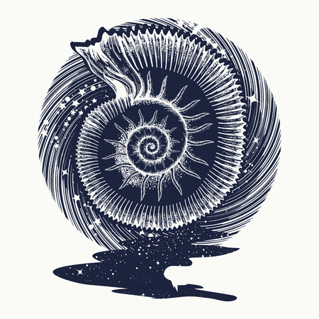 Ammonites and art nouveau flowers tattoo. Symbol of science, paleontology, history, biology, golden ratio. Ancient mollusk t-shirt design. nfinite space, meditation symbols, travel, tourism Vectores