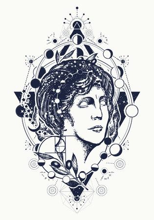 Magische vrouw godin Aphrodite tattoo. Symbool van kennis, poëzie, wetenschap, filosofie, psychologie. Wetenschapper tattoo en t-shirt design. Tatoeage voor wetenschap en onderwijs. Standbeeld van Aphrodite