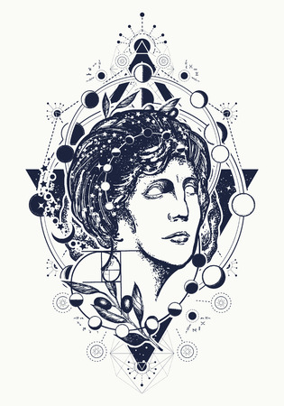 Magic woman goddess Aphrodite tattoo. Symbol of knowledge, poetry, science, philosophy, psychology. Scientist tattoo and t-shirt design. Science and education tattoo. Statue of Aphrodite Vettoriali