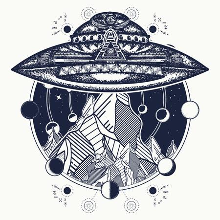 Ufo schip en bergen tattoo kunst vector. Ufo buitenshuis.