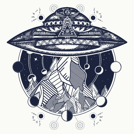 Ufo ship and mountains  tattoo art vector. Ufo outdoors.
