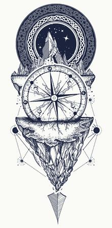 Bergen en antieke kompas tattoo kunst. Kompas, pijlen, bergen en nacht bos boho-stijl, t-shirt design. Avontuur, reizen, buitenshuis, symbool
