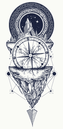 Mountains and antique compass tattoo art. Compass, arrows, mountains and night forest boho style, t-shirt design. Adventure, travel, outdoors, symbol