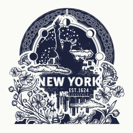 Statue of Liberty, New York and art nouveau flower tattoo and t-shirt design. Big city New York city skyline concept art poster Vectores