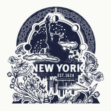 Statue of Liberty, New York and art nouveau flower tattoo and t-shirt design. Big city New York city skyline concept art poster Vettoriali