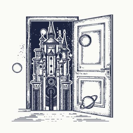 Open door and magic castle  tattoo. Symbol of the fairy tale, dream, magic. Surreal tattoo open door