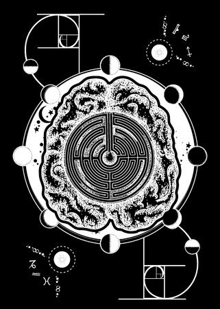 Hersenlabyrint en gulden snede tattoo-kunst. Kunstmatige intelligentie van de toekomstige tattoo. Symbool van psychologie, filosofie, creativiteit, intelligentie. Super brein lost problemen op met het ontwerpen van T-shirts Stock Illustratie