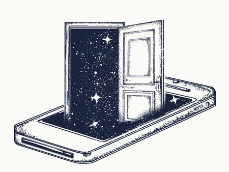 Magische open deur en mobiele telefoon tattoo en t-shirt design. Internetbeveiliging VPN. Bescherming van anonimiteit in netwerk.