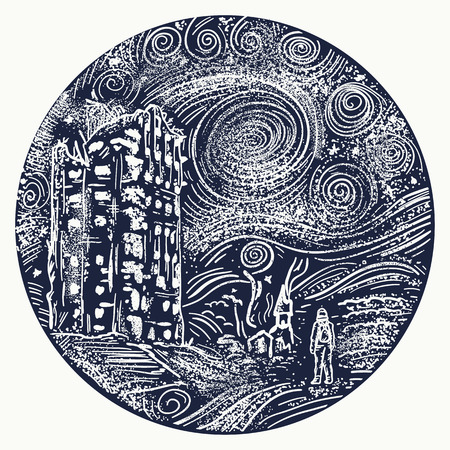 Man standing in post apocalypse city tattoo. Nuclear war tattoo and t-shirt design. Apocalyptic landscape tattoo art