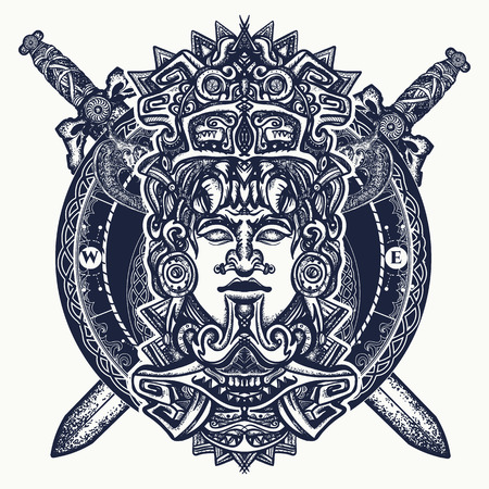 Ancient aztec totem, Mexican god warrior and crossed swords. Ancient Mayan civilization. Indian mayan carved in stone tattoo art. Mayan tattoo and t-shirt design