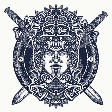 Altes aztekisches Totem, mexikanischer Gotenkrieger und gekreuzte Klingen. Alte Maya-Zivilisation. Indischer Maya schnitzte in der Steintätowierungskunst. Mayatätowierung und T-Shirt Design