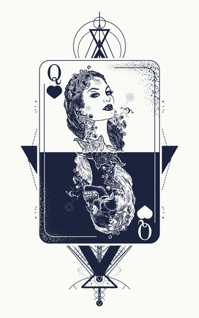 Queen playing card sacred geometry tattoo and t-shirt design. Tarot cards, success and defeat, casino, poker tattoo. Beautiful girl and queen skeleton, Gothic playing card. Symbol of gambling