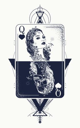 Tatuagem de geometria sagrada de cartão de jogo rainha e design de t-shirt. Cartas de tarô, sucesso e derrota, cassino, tatuagem de pôquer. Menina bonita e rainha esqueleto, cartão de jogo gótico. Símbolo do jogo Ilustración de vector